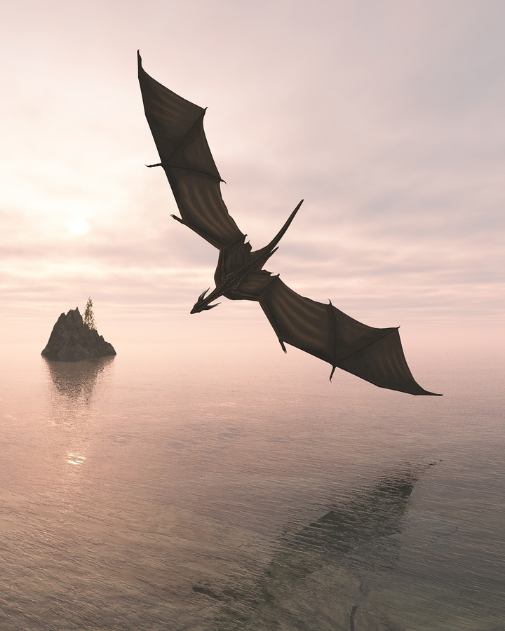 Fantasy illustration of a dragon flying low over a calm ocean in pink evening light