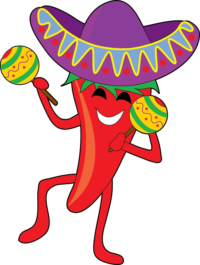Mexican chili dancing with a big sombrero and maracas