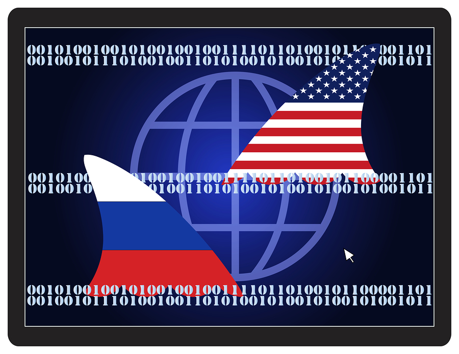 Cold War Espionage. USA and Russia spying on each other on the internet