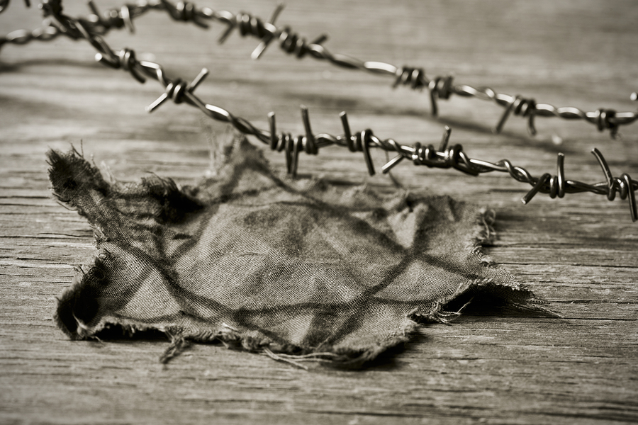 Jewish badge and barbed wire